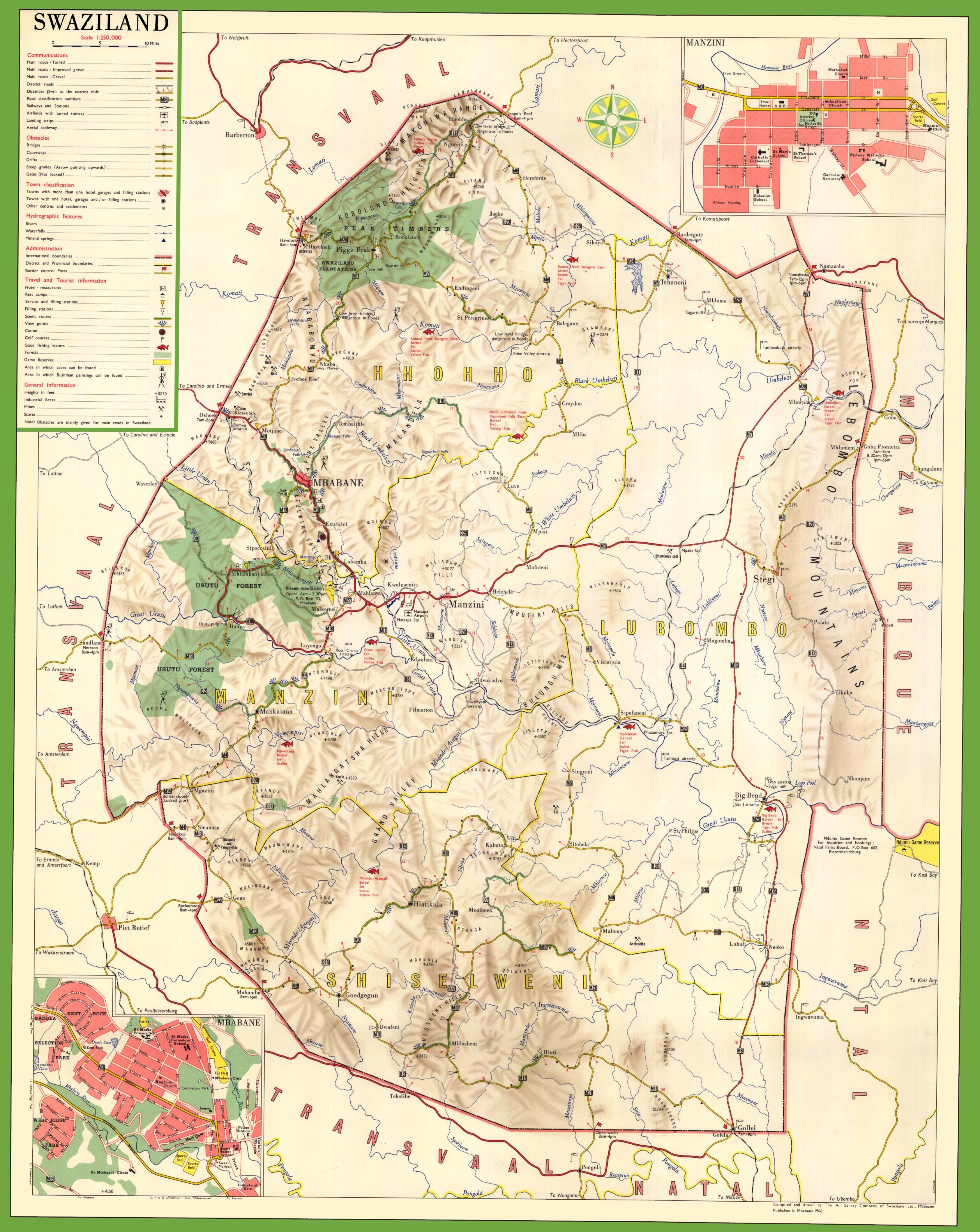 Svazijsko Podrobna Mapa Mapa Svazijsko Podrobne Jizni Africe